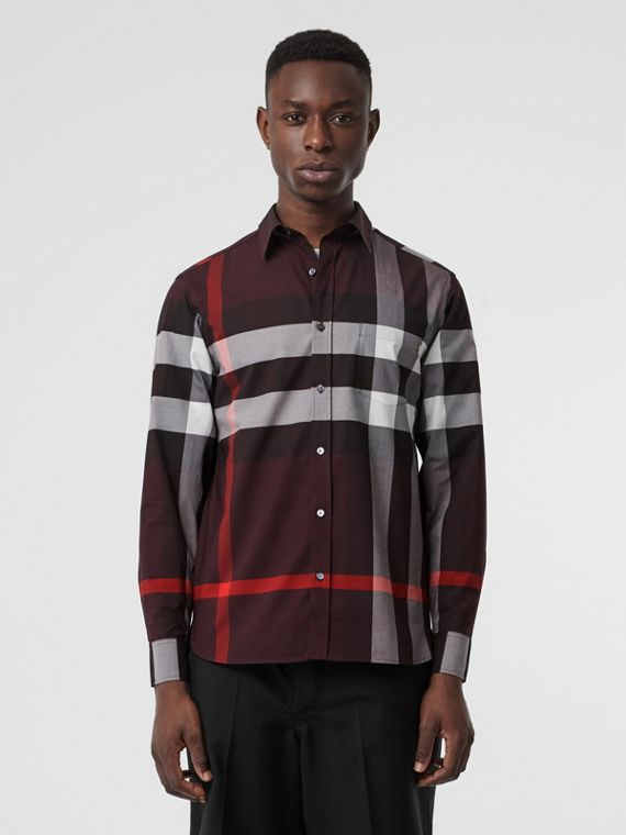 Check Stretch Cotton Shirt in Deep Claret