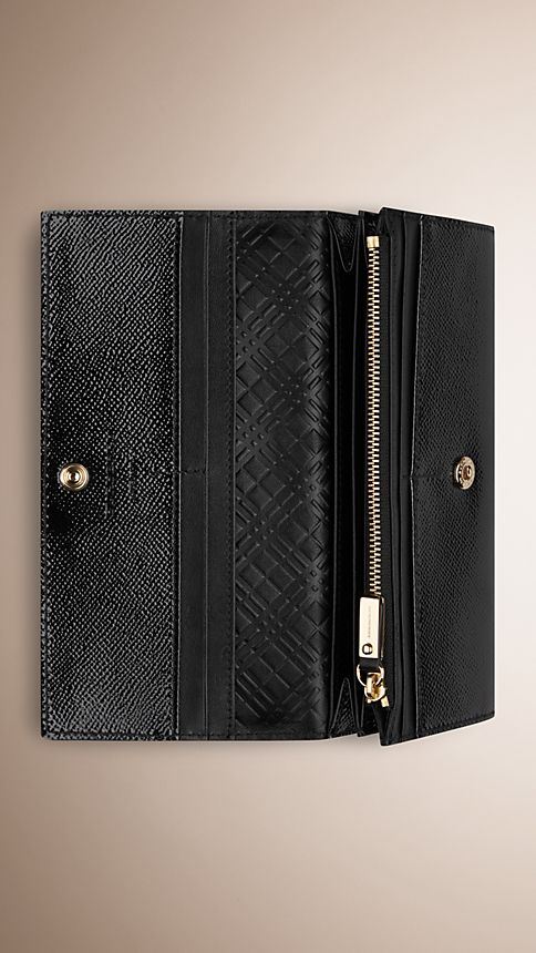 Black Patent London Leather Continental Wallet - Image 4