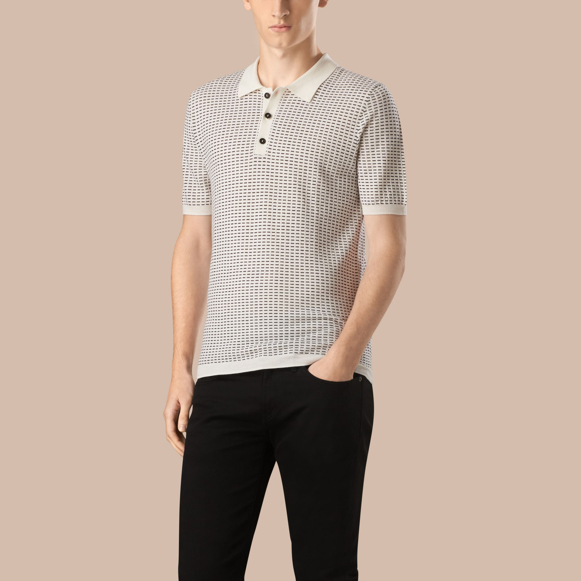 White Micro Pattern Wool Silk Polo Shirt - gallery image 1