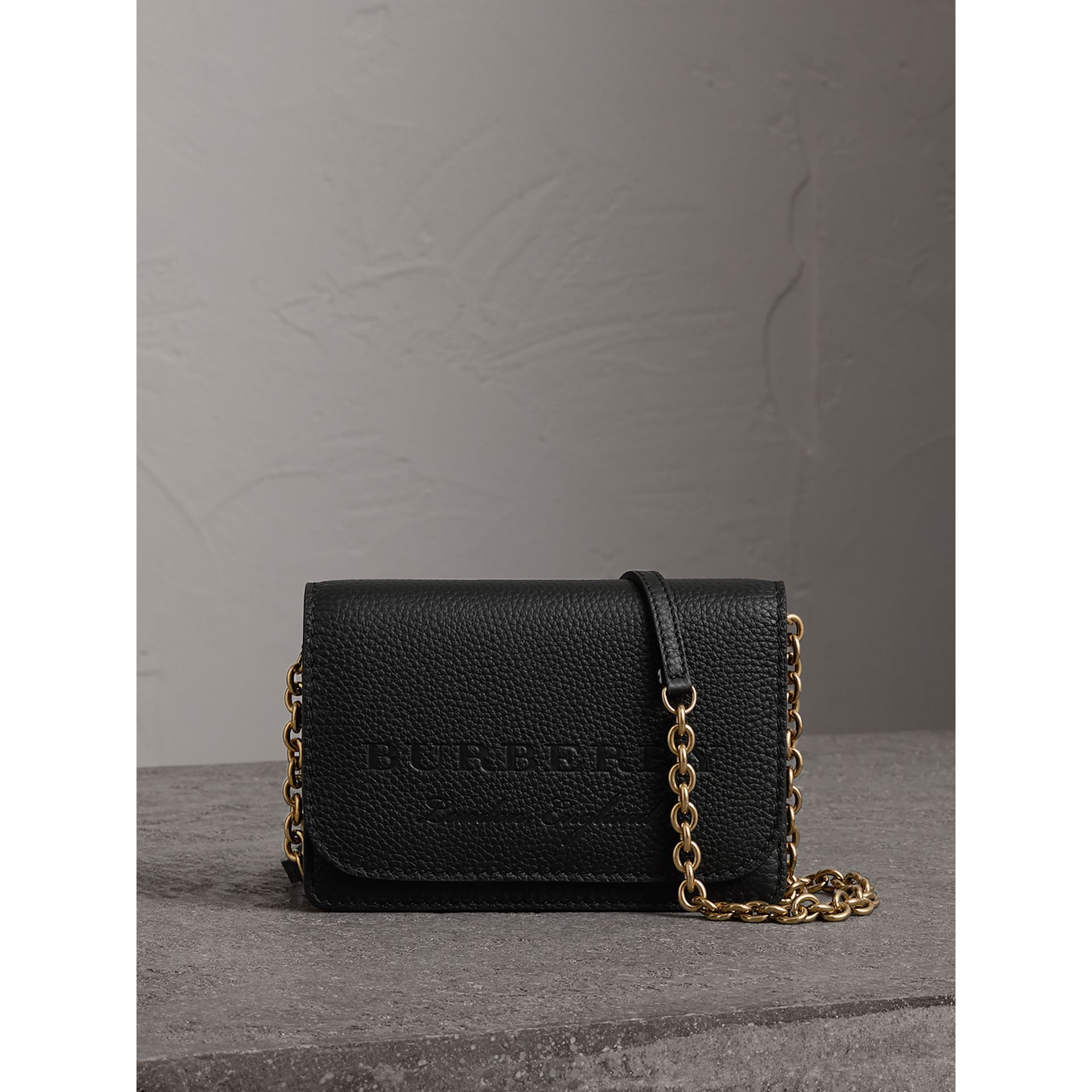 Embossed Leather Wallet with Detachable Strap in Black - Women | Burberry - gallery image 0