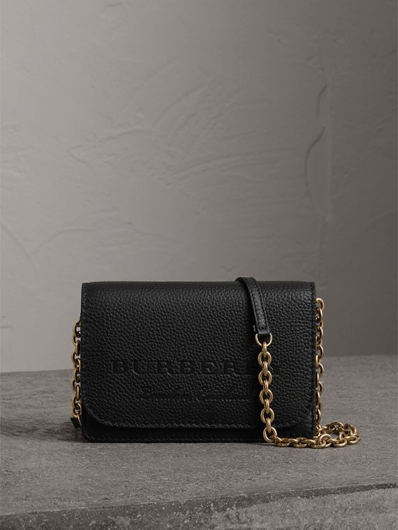 Embossed Leather Wallet with Detachable Strap in Black