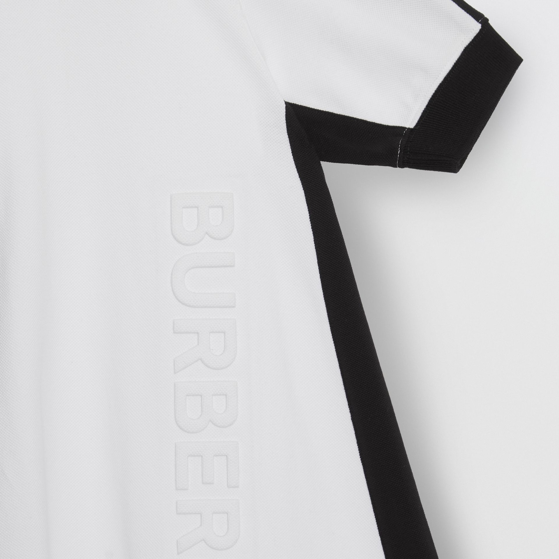 Embossed Logo Cotton Piqué Polo Dress in White | Burberry - gallery image 4