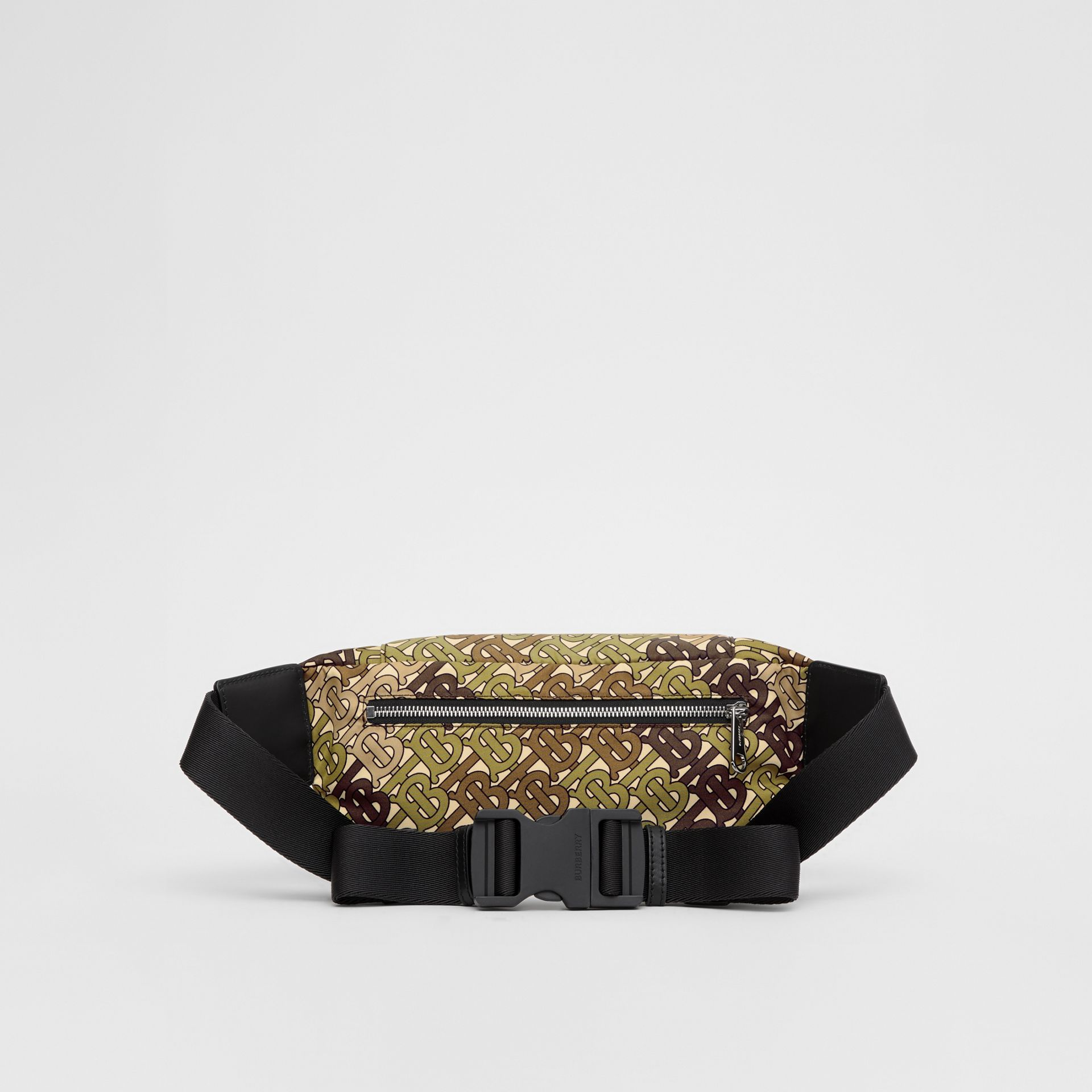 Medium Monogram Print Bum Bag in Khaki Green | Burberry Singapore - gallery image 9