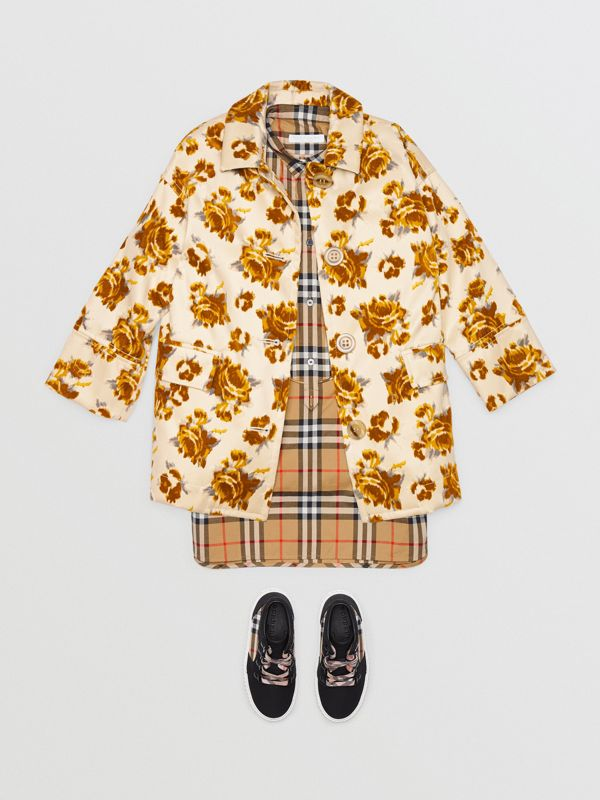 Floral Velvet Jacquard Car Coat with Warmer in Ochre | Burberry - cell image 2