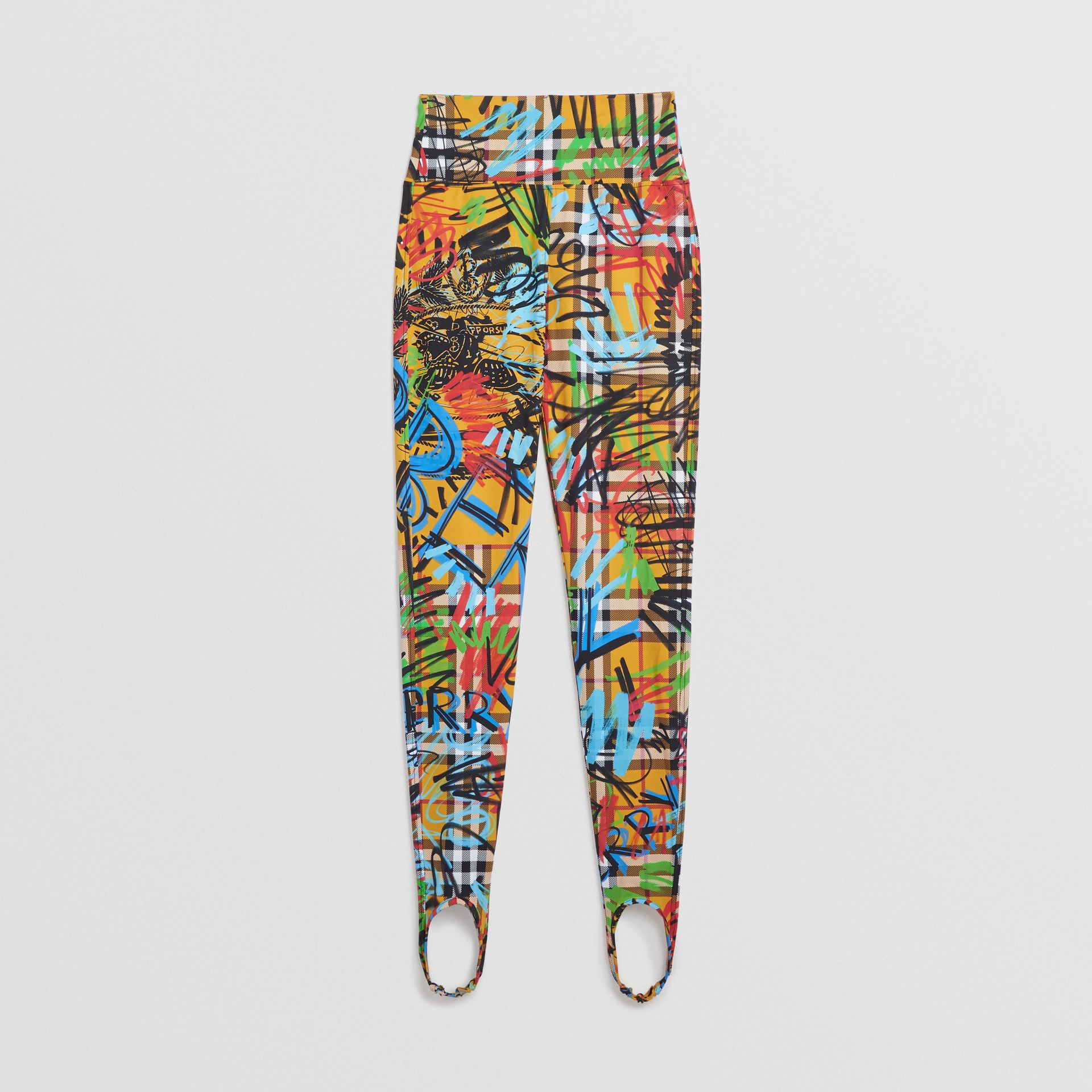 Graffiti Print Vintage Check Leggings in Amber Yellow - Women | Burberry - gallery image 3