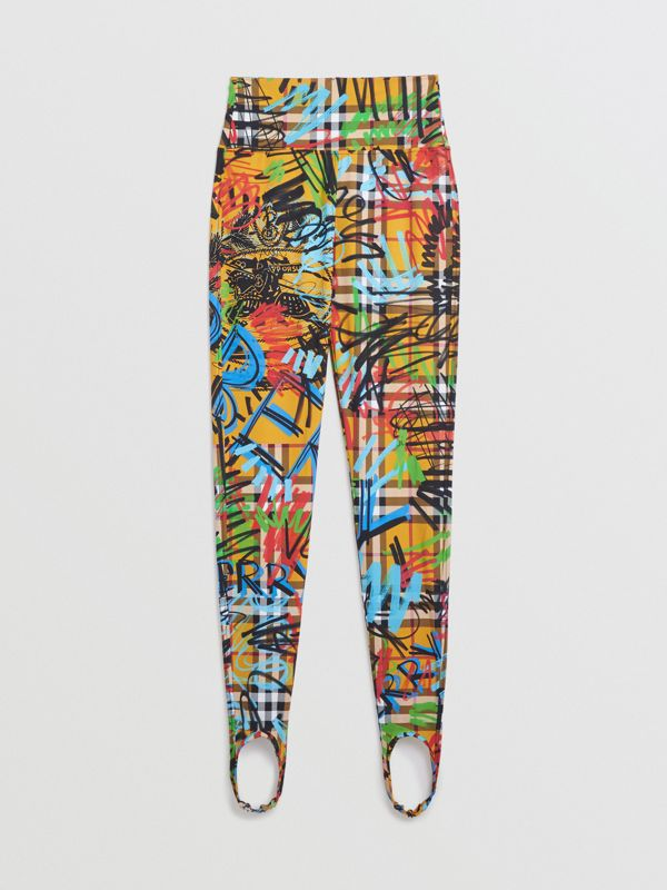 Graffiti Print Vintage Check Leggings in Amber Yellow - Women | Burberry - cell image 3