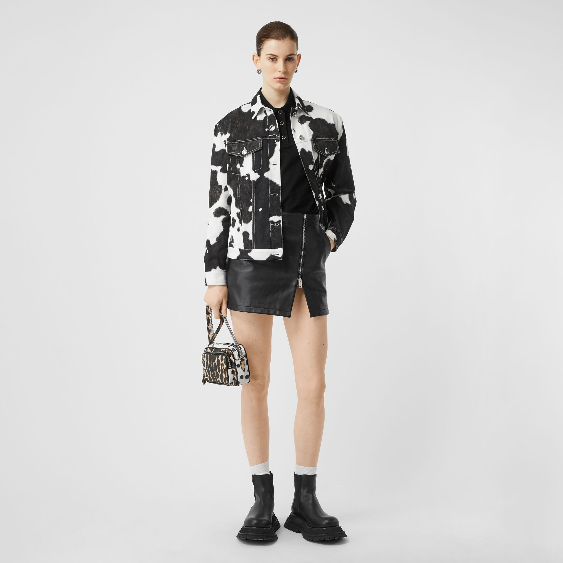 Cow Print Denim Jacket in Black - Women | Burberry - gallery image 0