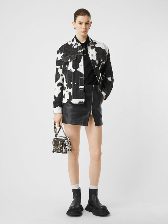 Cow Print Denim Jacket in Black