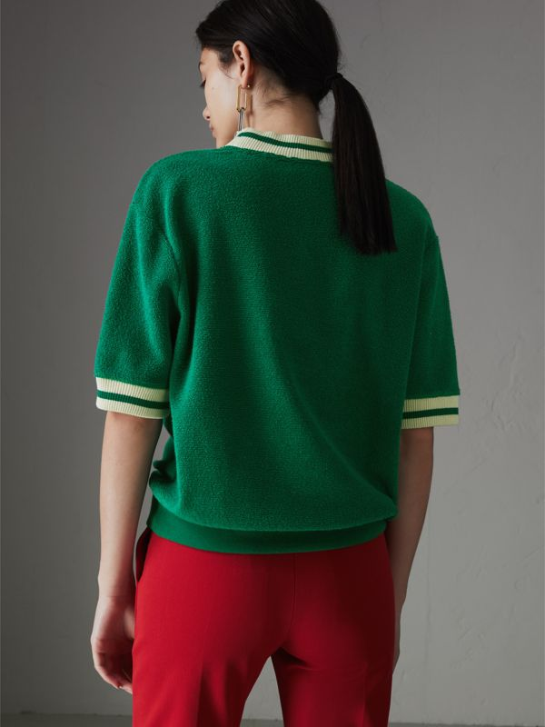 Stripe Detail Cotton Terry Top in Fern Green - Women | Burberry Singapore - cell image 2