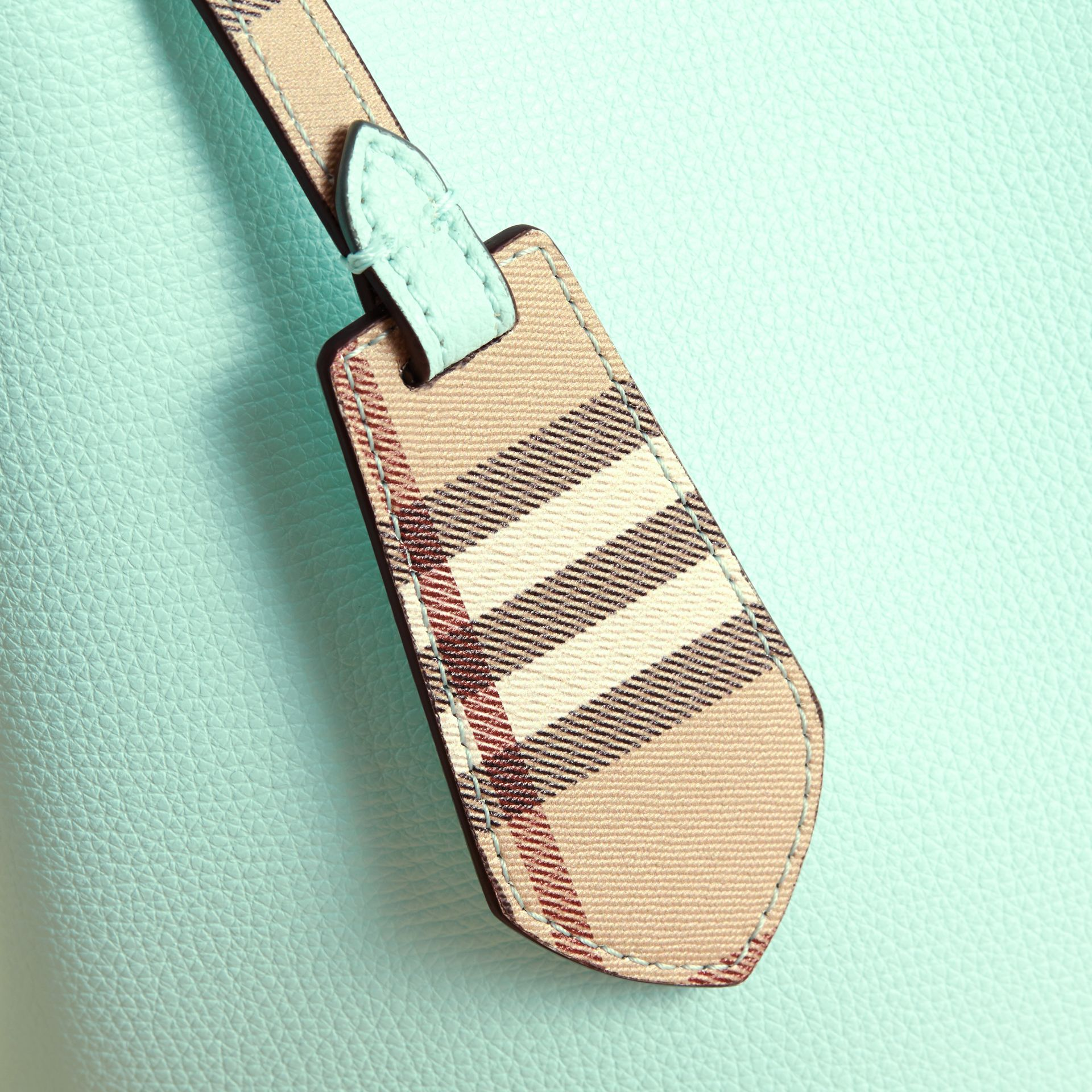 Leather and Haymarket Check Crossbody Bucket Bag in Pale Opal - Women | Burberry - gallery image 1