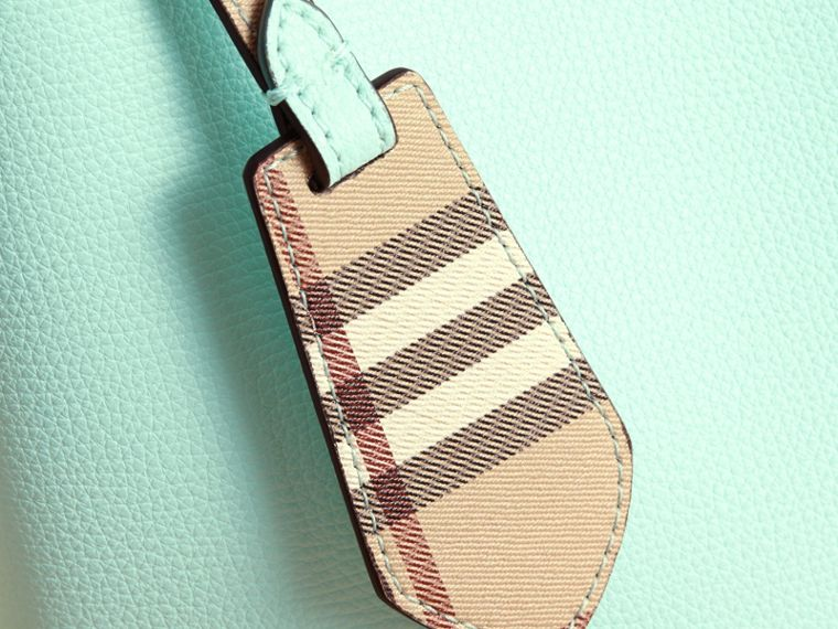 Leather and Haymarket Check Crossbody Bucket Bag in Pale Opal - Women | Burberry United States - cell image 1