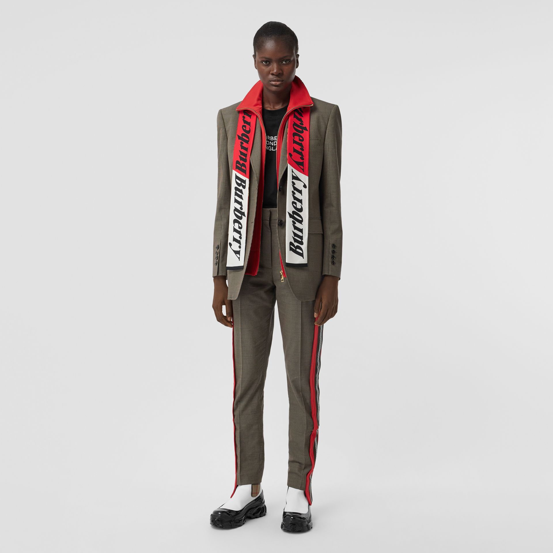 Octopus and Logo Graphic Print Silk Skinny Scarf in Coral Red | Burberry Hong Kong S.A.R - gallery image 6