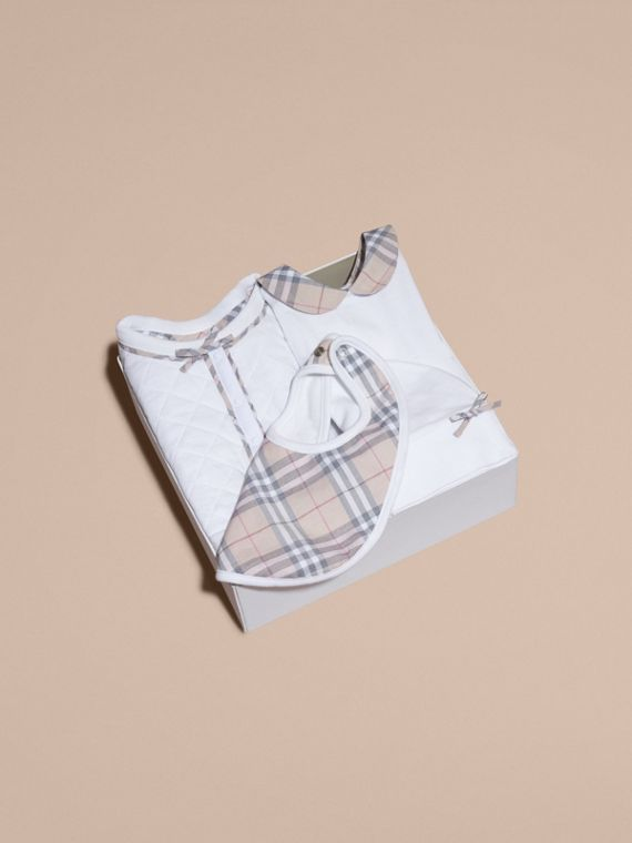 Check Detail Four-piece Baby Gift Set in White - Children | Burberry - cell image 3