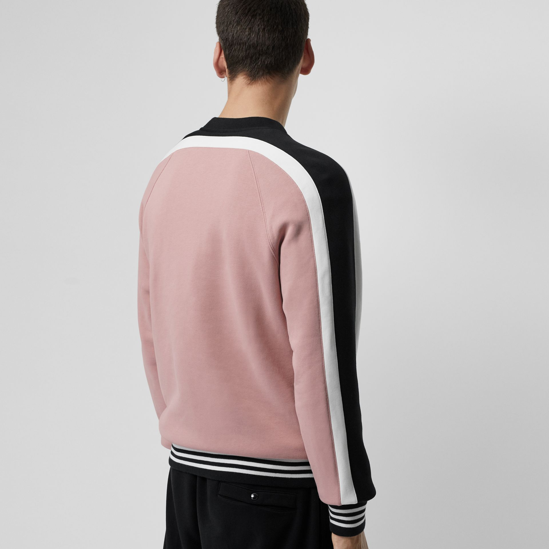 Stripe Detail Cotton Jersey Sweatshirt in Pale Orchid - Men | Burberry - gallery image 2