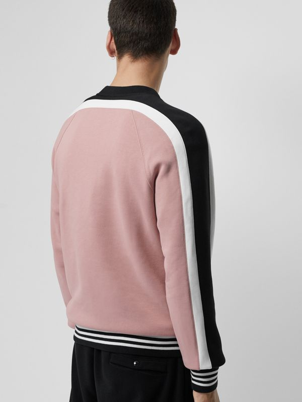 Stripe Detail Cotton Jersey Sweatshirt in Pale Orchid - Men | Burberry - cell image 2