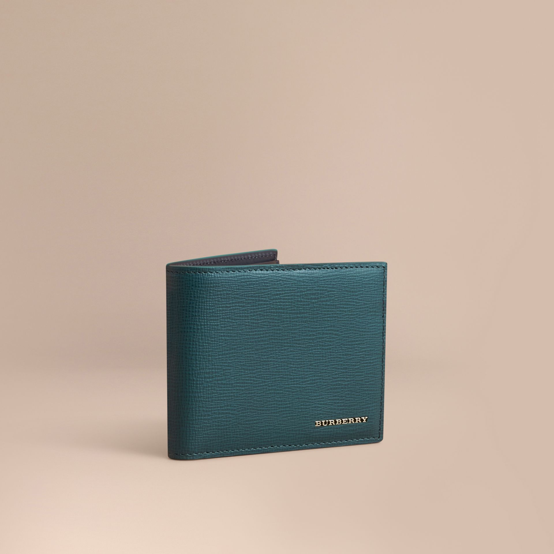 London Leather Bifold Wallet in Dark Teal | Burberry - gallery image 1