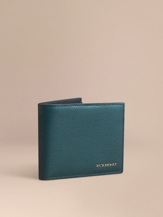 London Leather Bifold Wallet in Dark Teal | Burberry