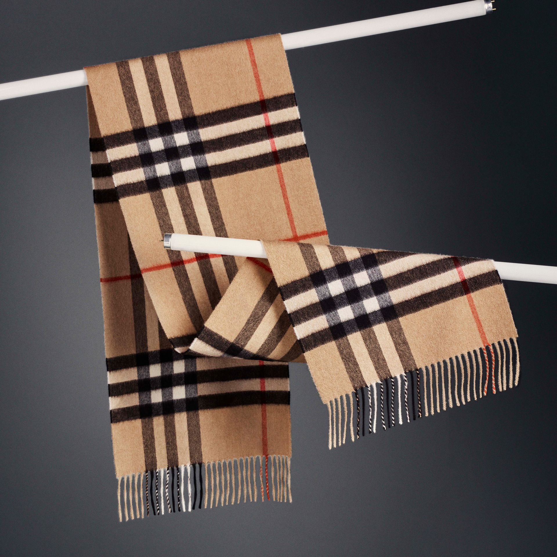 The Classic Check Cashmere Scarf in Camel | Burberry - gallery image 6