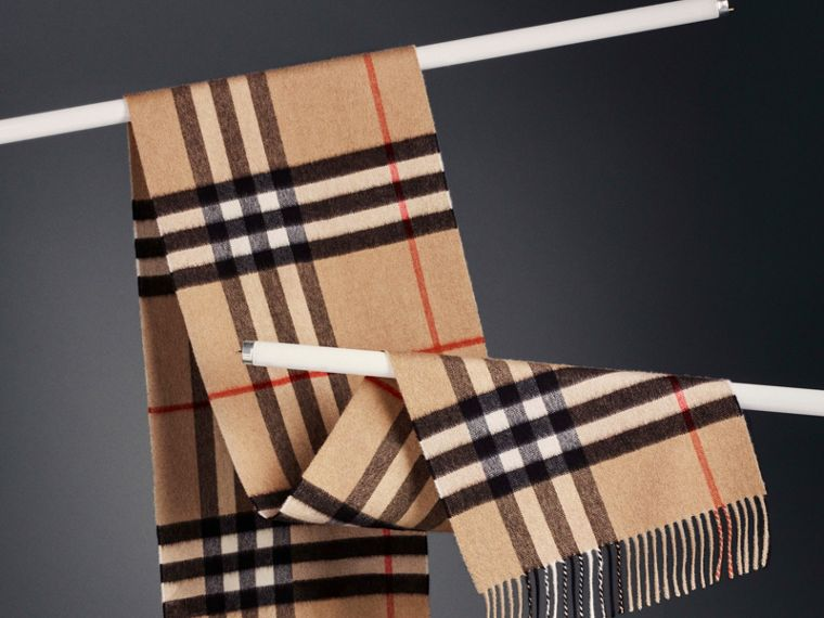 The Classic Check Cashmere Scarf in Camel | Burberry United States - cell image 4