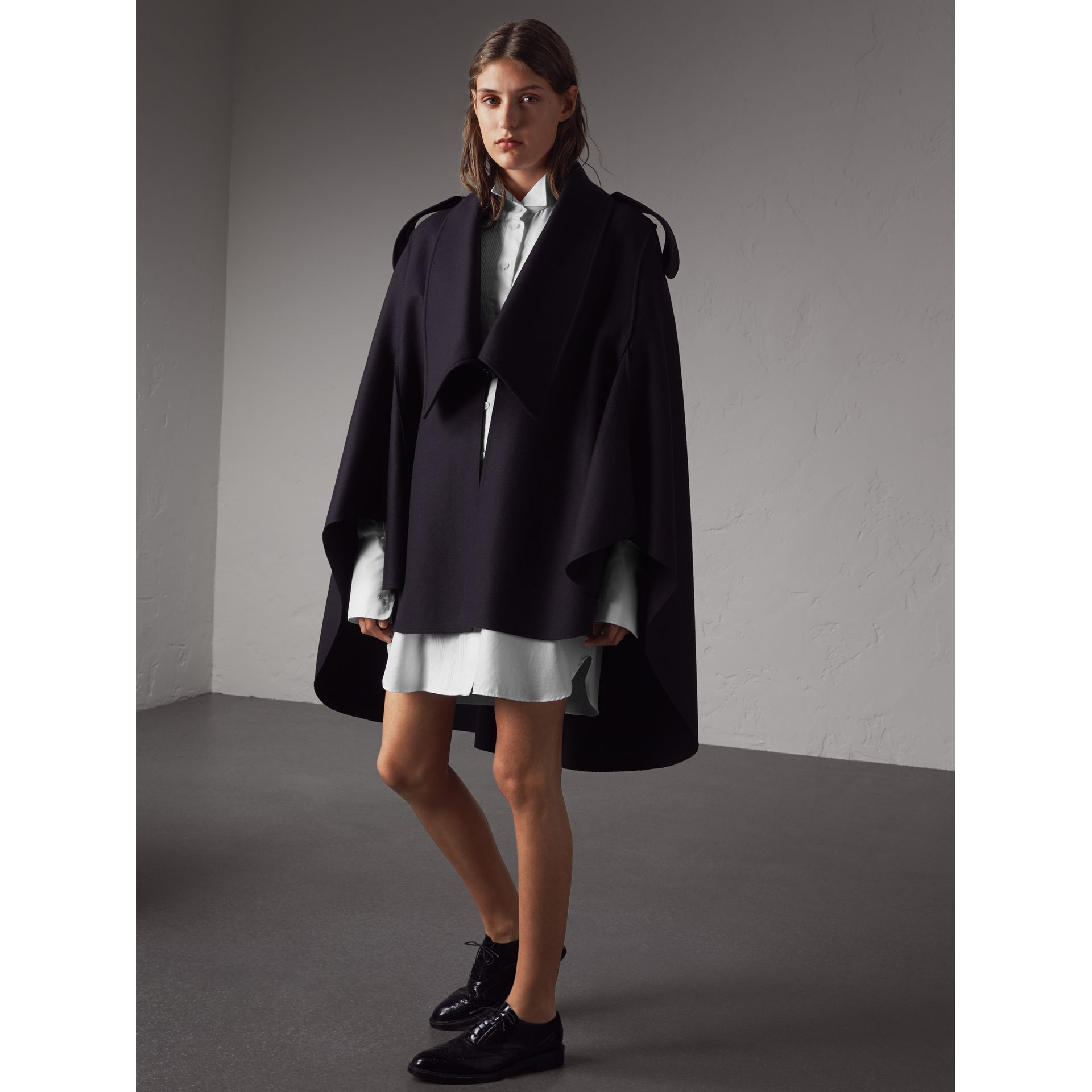 Wool Cashmere Blend Military Cape in True Navy - Women | Burberry - gallery image 5