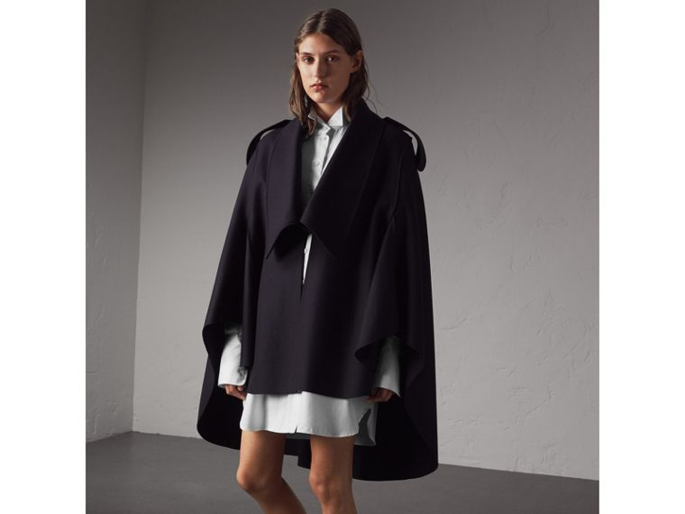 Wool Cashmere Blend Military Cape in True Navy - Women | Burberry - cell image 4
