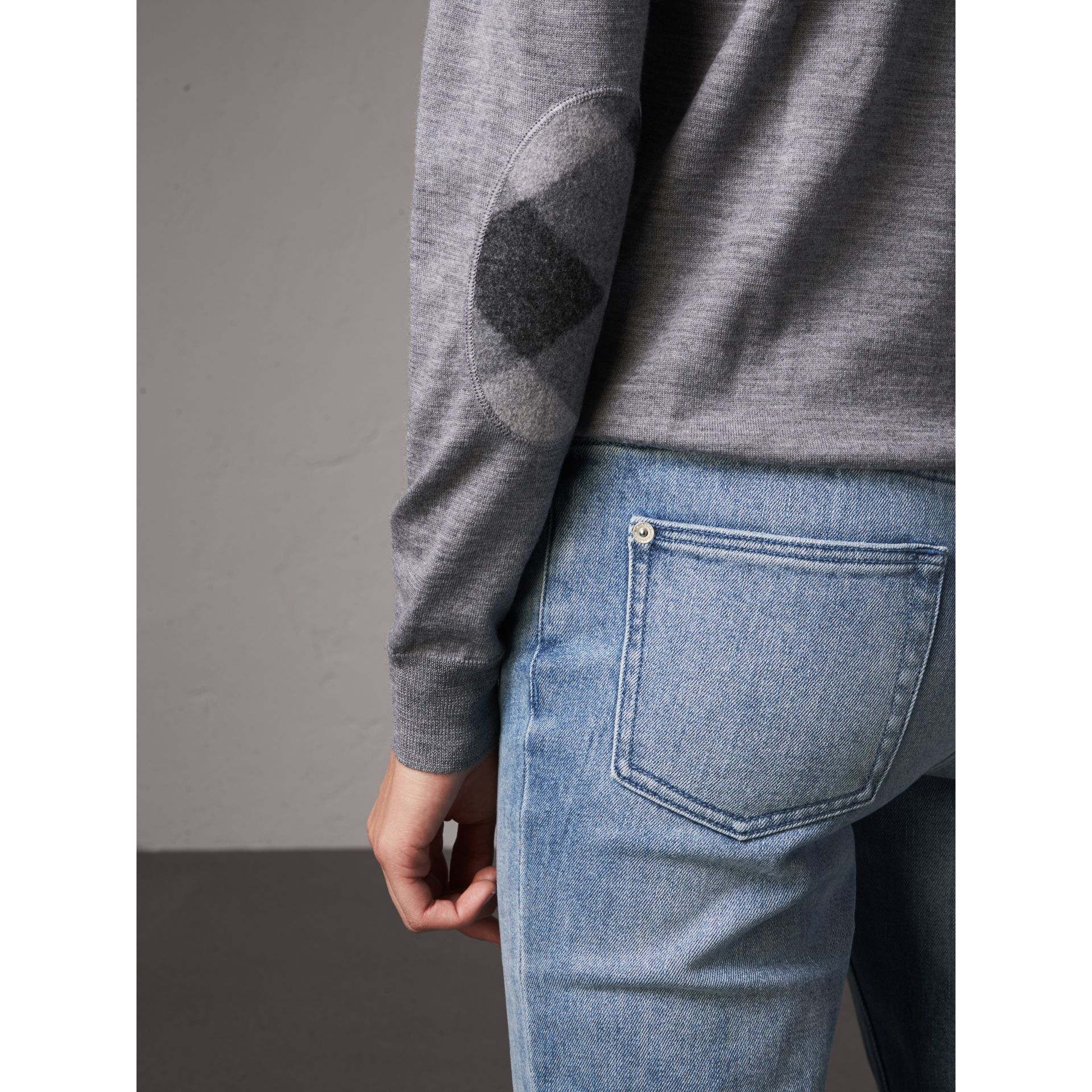 Check Detail Merino Wool Crew Neck Sweater in Mid Grey Melange - Women | Burberry Singapore - gallery image 1