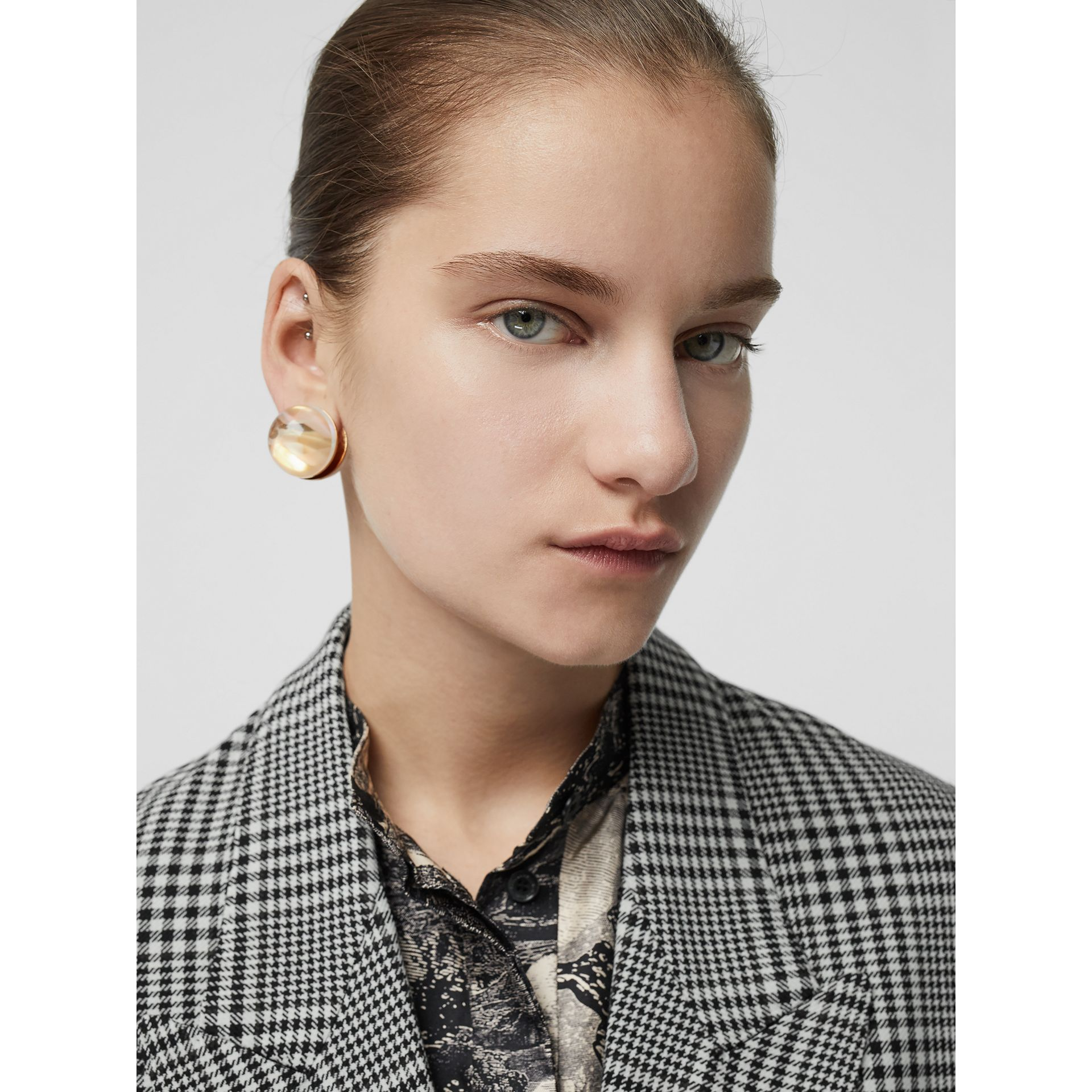 Marbled Resin Gold-plated Sphere Earrings in Light - Women | Burberry United Kingdom - gallery image 2