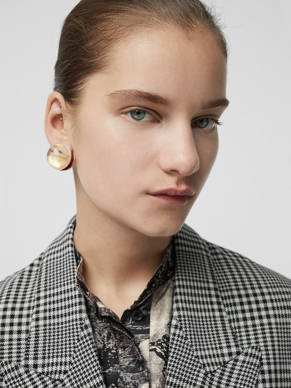 Marbled Resin Gold-plated Sphere Earrings in Light - Women | Burberry - cell image 2