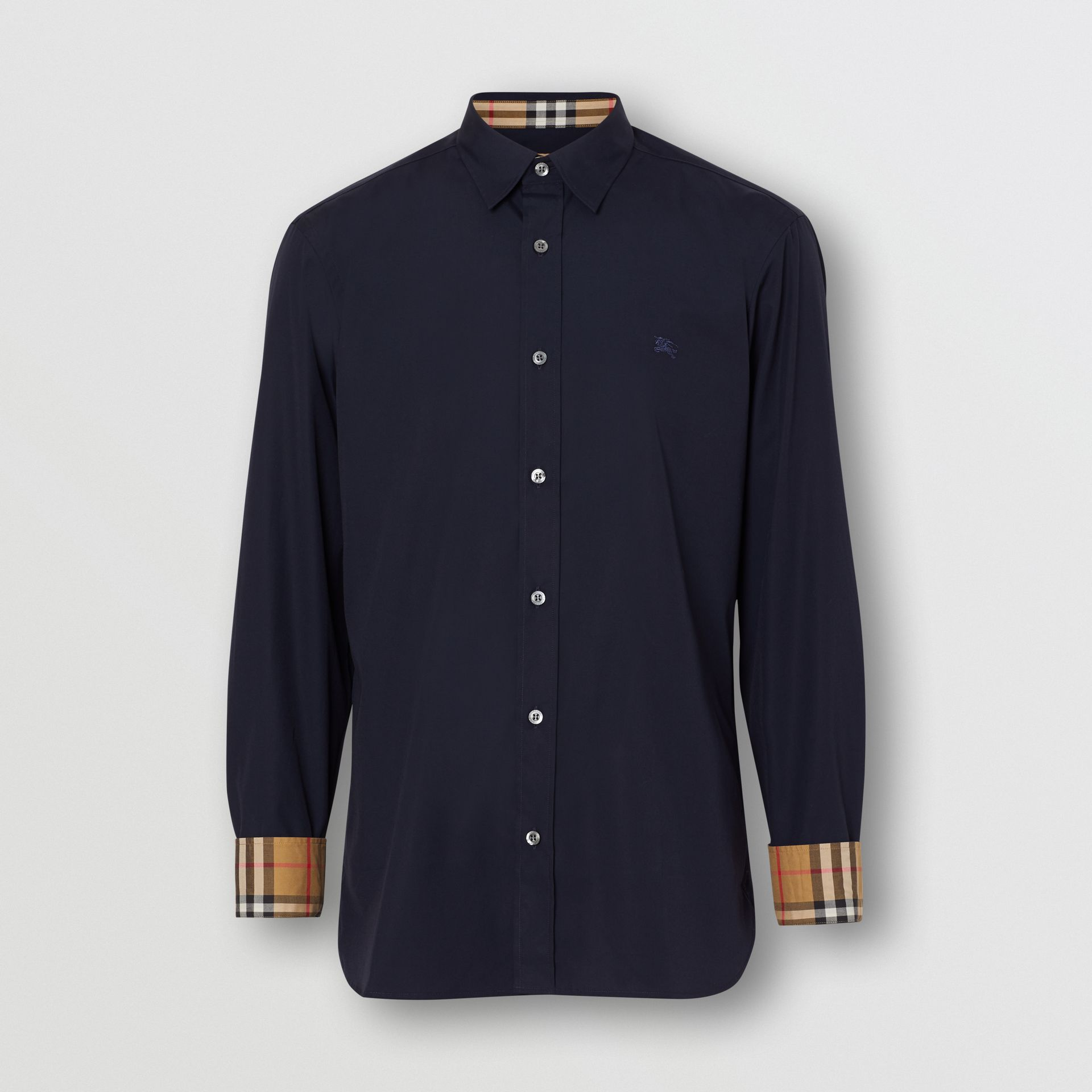 Contrast Button Stretch Cotton Shirt in Navy - Men | Burberry Australia - gallery image 3