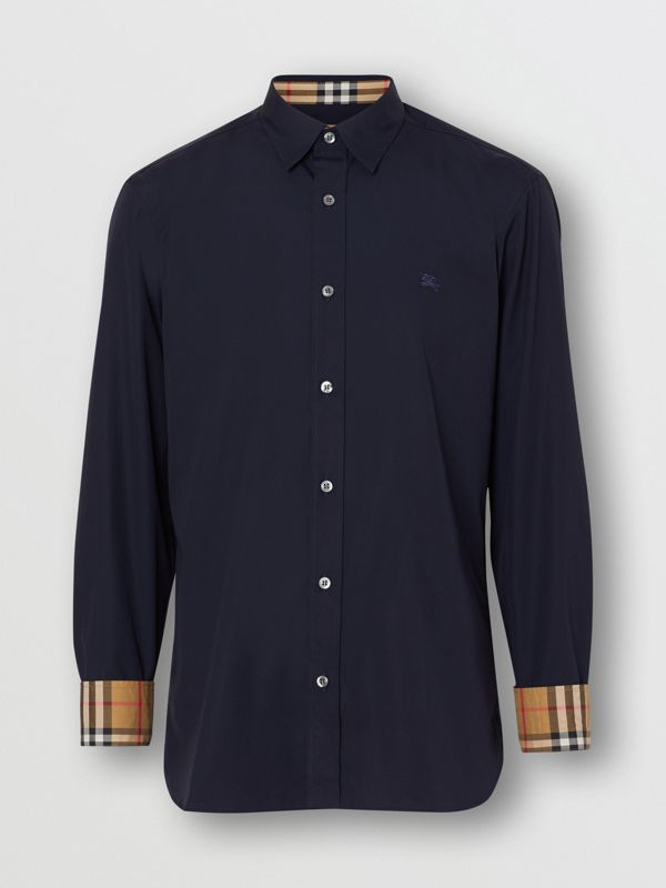 Contrast Button Stretch Cotton Shirt in Navy - Men | Burberry Singapore - cell image 3
