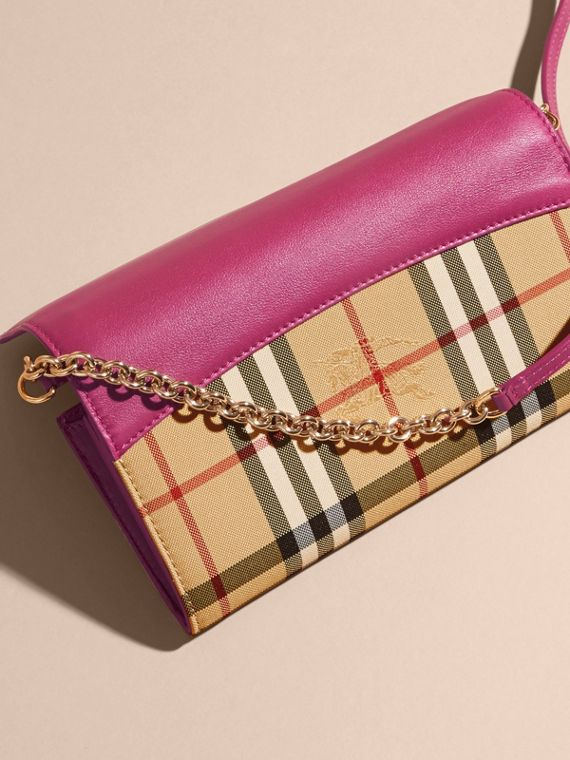 Brilliant fuchsia Horseferry Check and Leather Wallet with Chain Brilliant Fuchsia - cell image 3