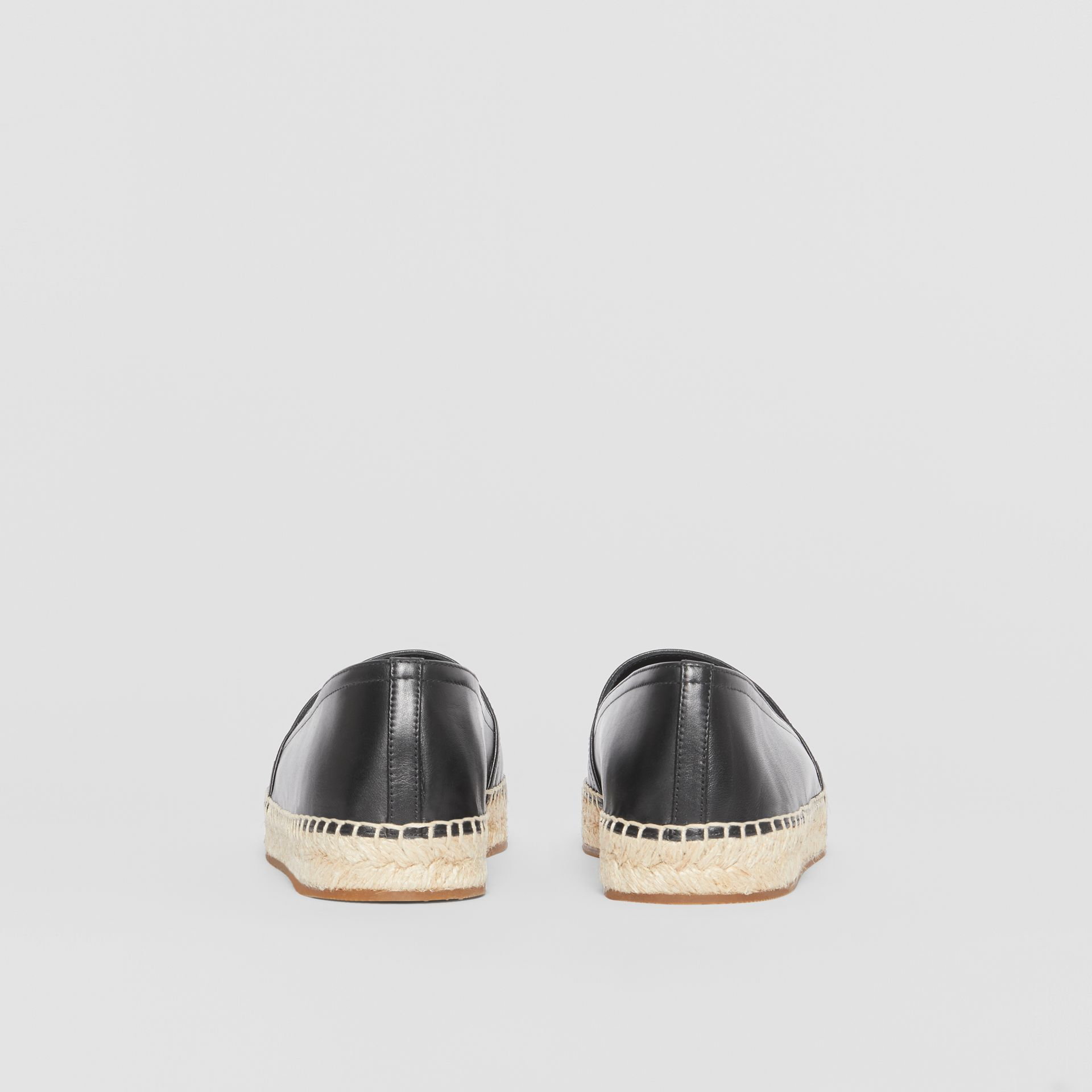 Monogram Motif Leather Espadrilles in Black - Women | Burberry - gallery image 4