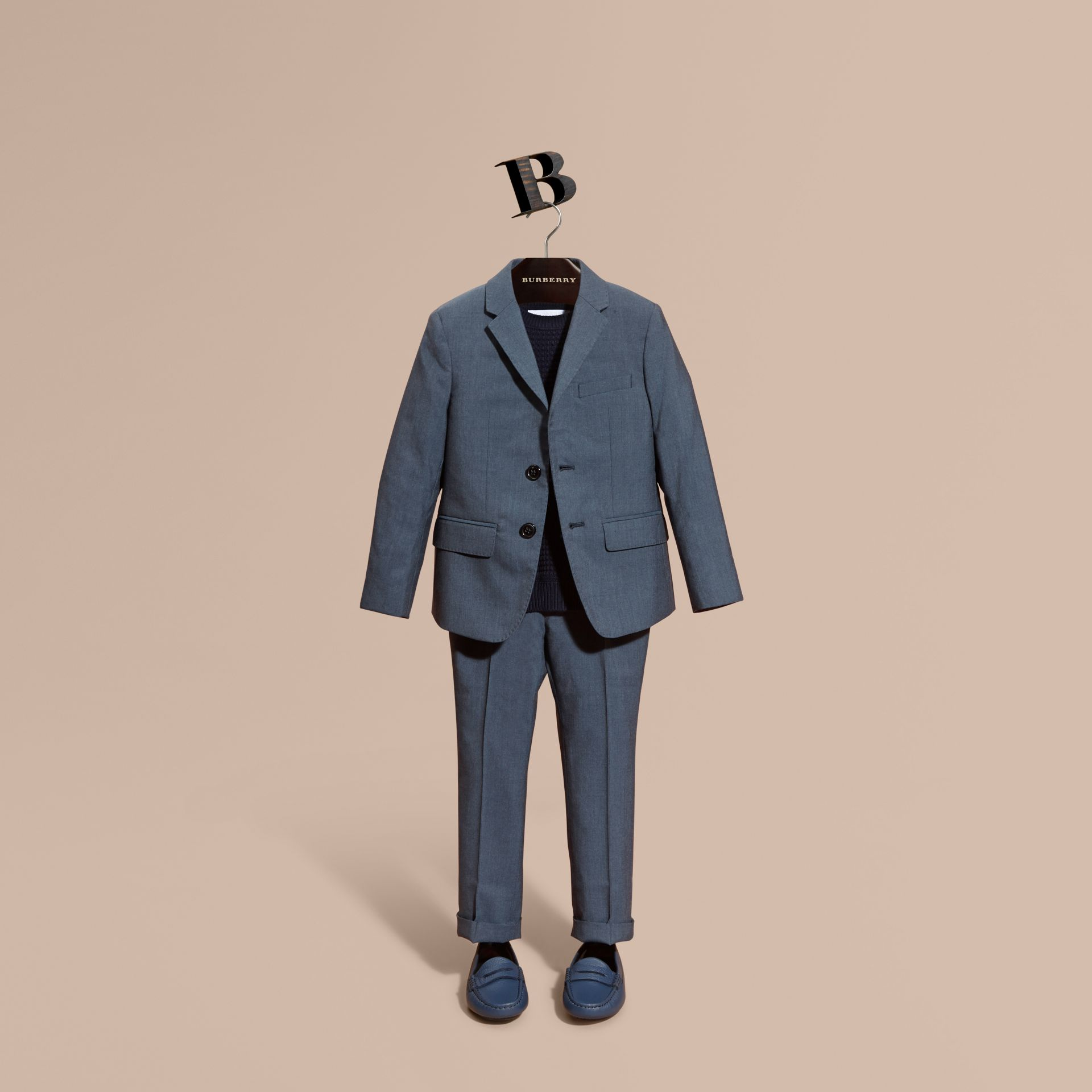Single-breasted Wool Blazer in Airforce Blue - Boy | Burberry - gallery image 0