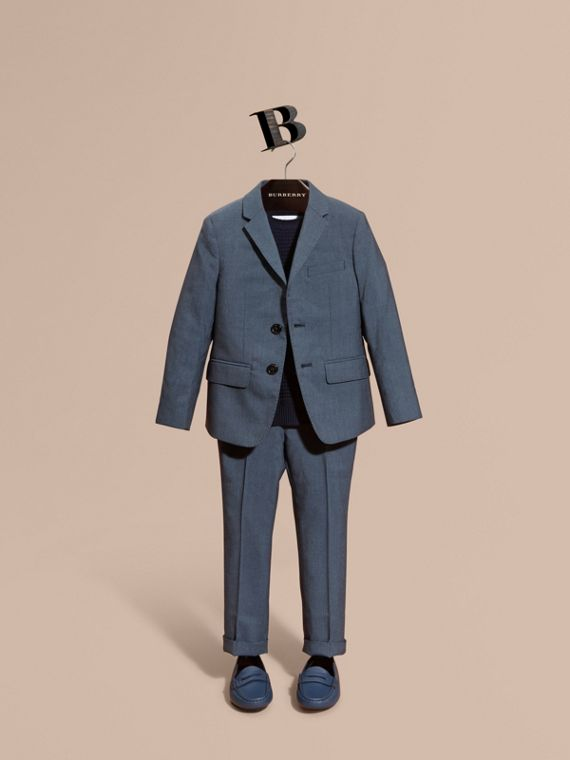 Single-breasted Wool Blazer in Airforce Blue