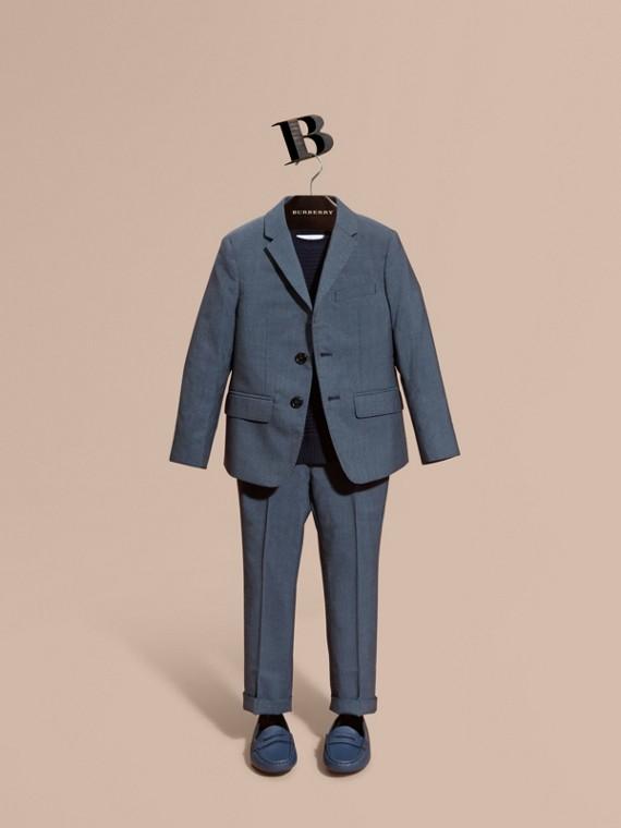 Americana en lana de botonadura sencilla Azul Aviador