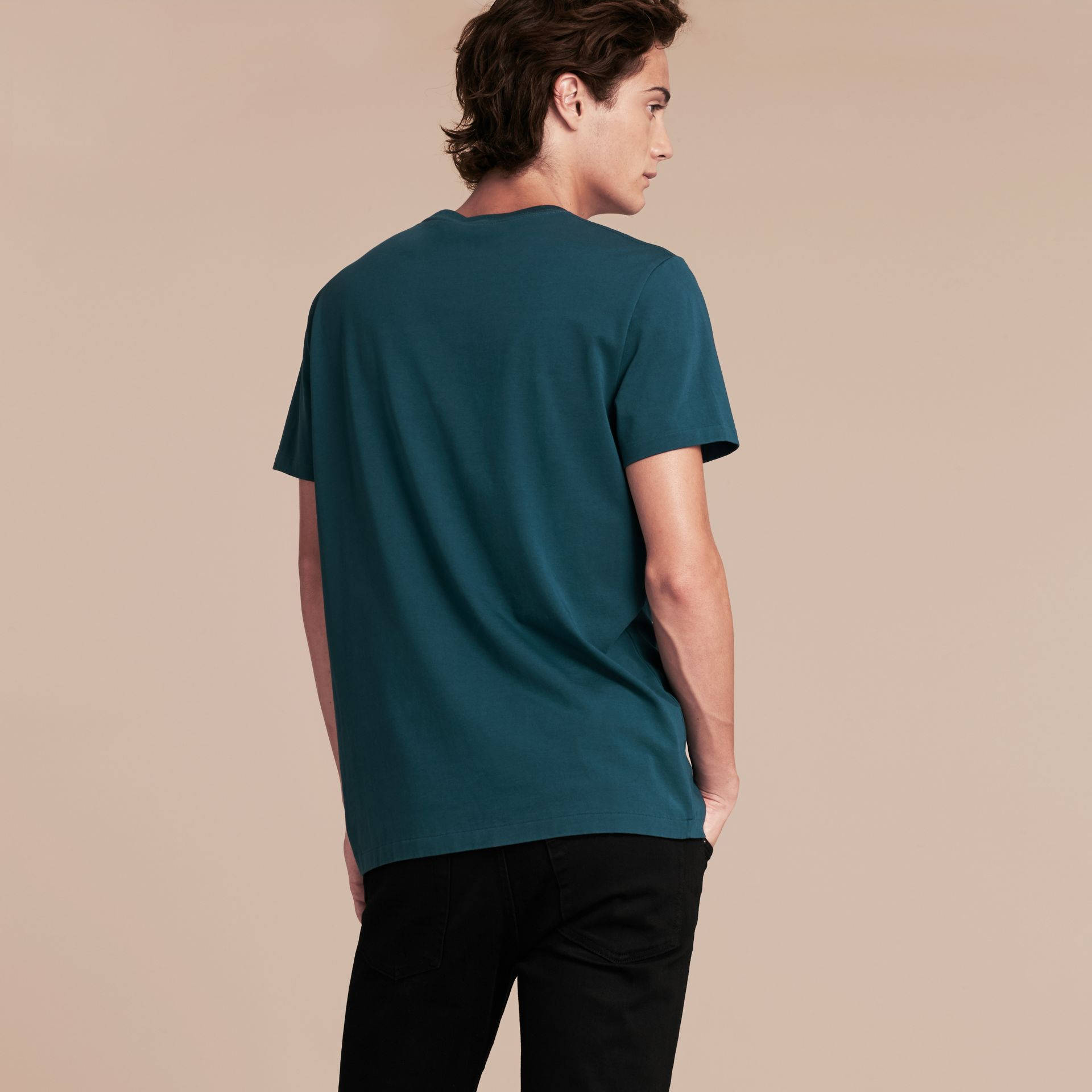 Cotton Jersey T-shirt in Mineral Blue - Men | Burberry - gallery image 2