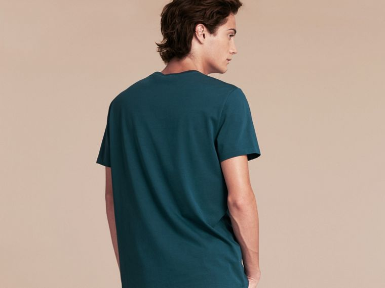 Cotton Jersey T-shirt in Mineral Blue - Men | Burberry - cell image 1
