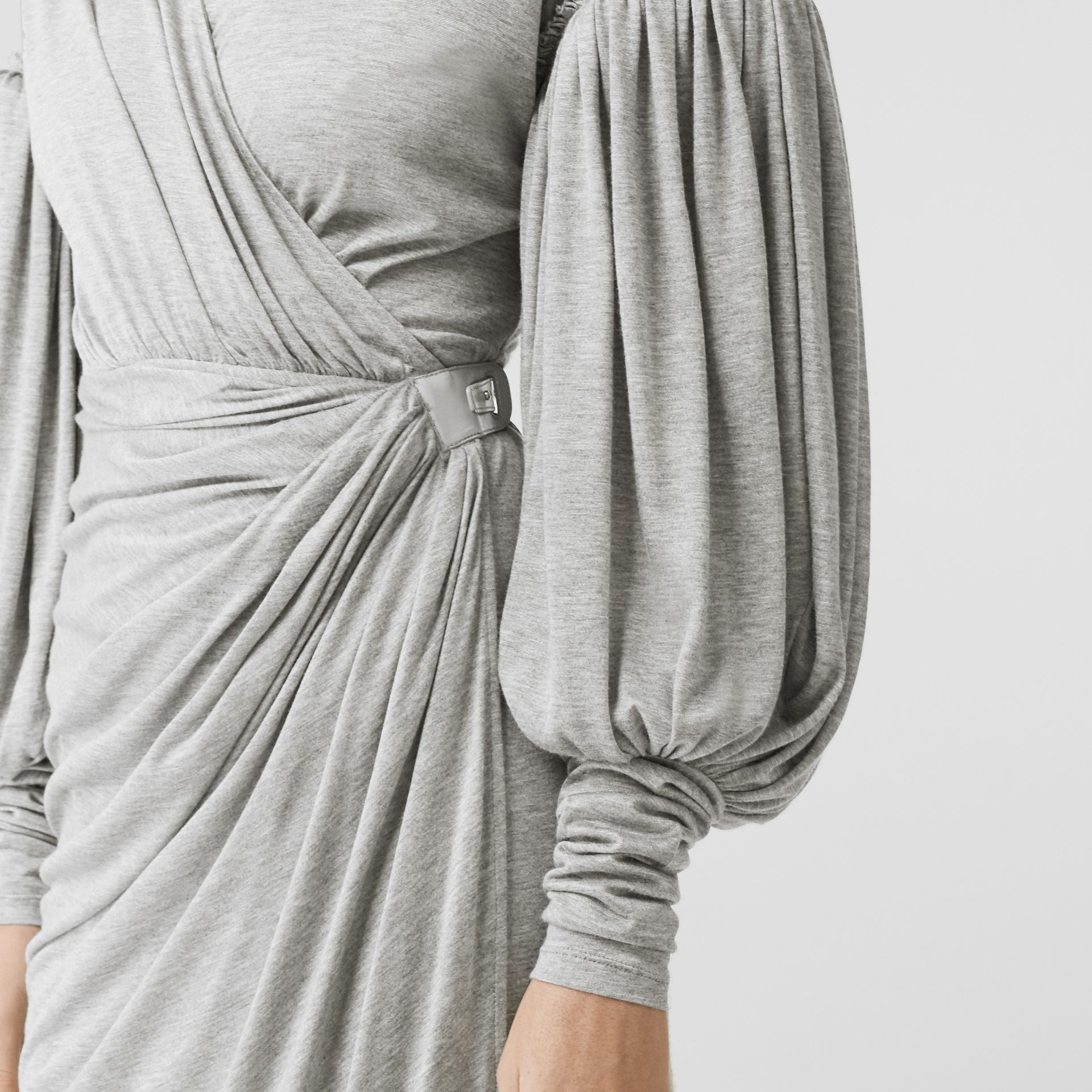 Puff-sleeve Jersey Wrap Dress in Pewter Melange - Women | Burberry - gallery image 4