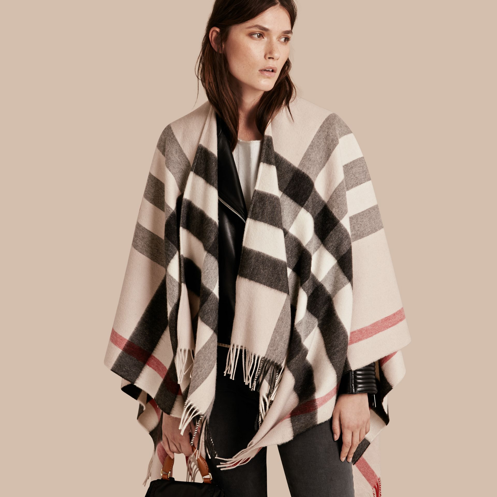 Check Cashmere and Wool Poncho Stone - gallery image 1