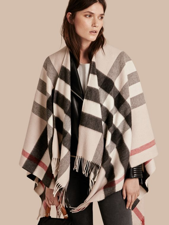 Check Cashmere and Wool Poncho Stone
