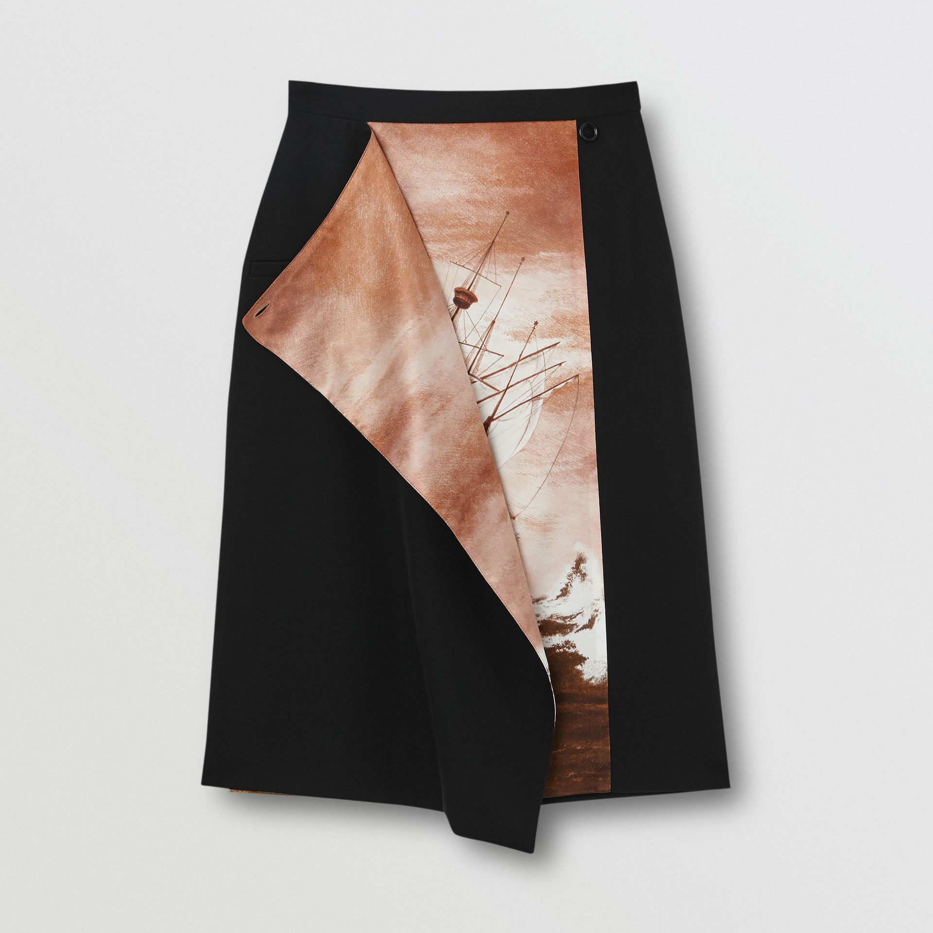 Ship Print Silk Panel Wool Pencil Skirt in Black - Women | Burberry - gallery image 3