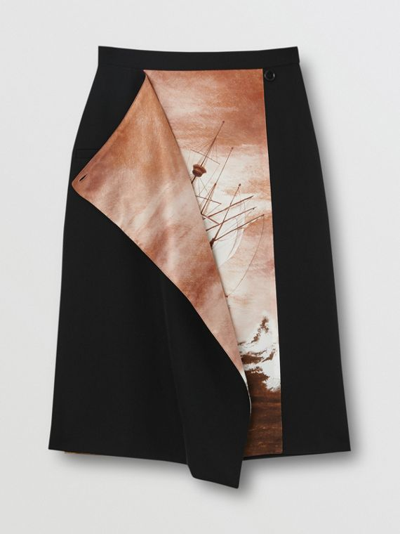 Ship Print Silk Panel Wool Pencil Skirt in Black