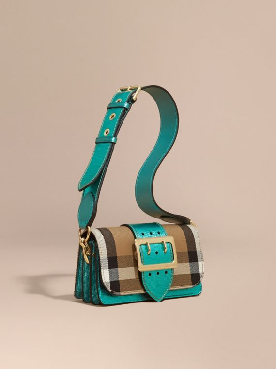 Borsa The Buckle piccola con motivo House check e pelle Smeraldo