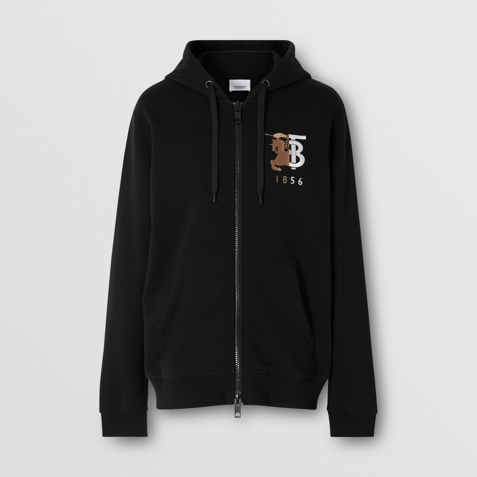 Contrast Logo Graphic Cotton Hooded Top in Black - Men | Burberry United Kingdom - gallery image 3