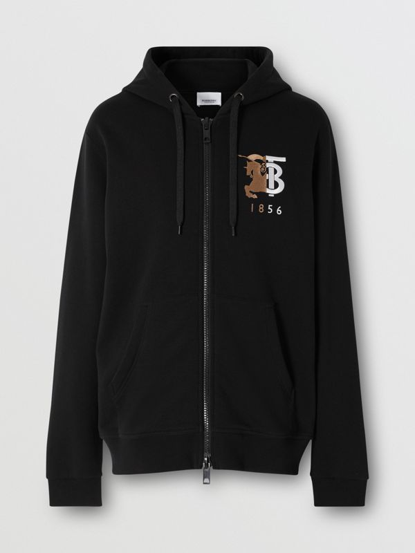 Contrast Logo Graphic Cotton Hooded Top in Black - Men | Burberry United Kingdom - cell image 3