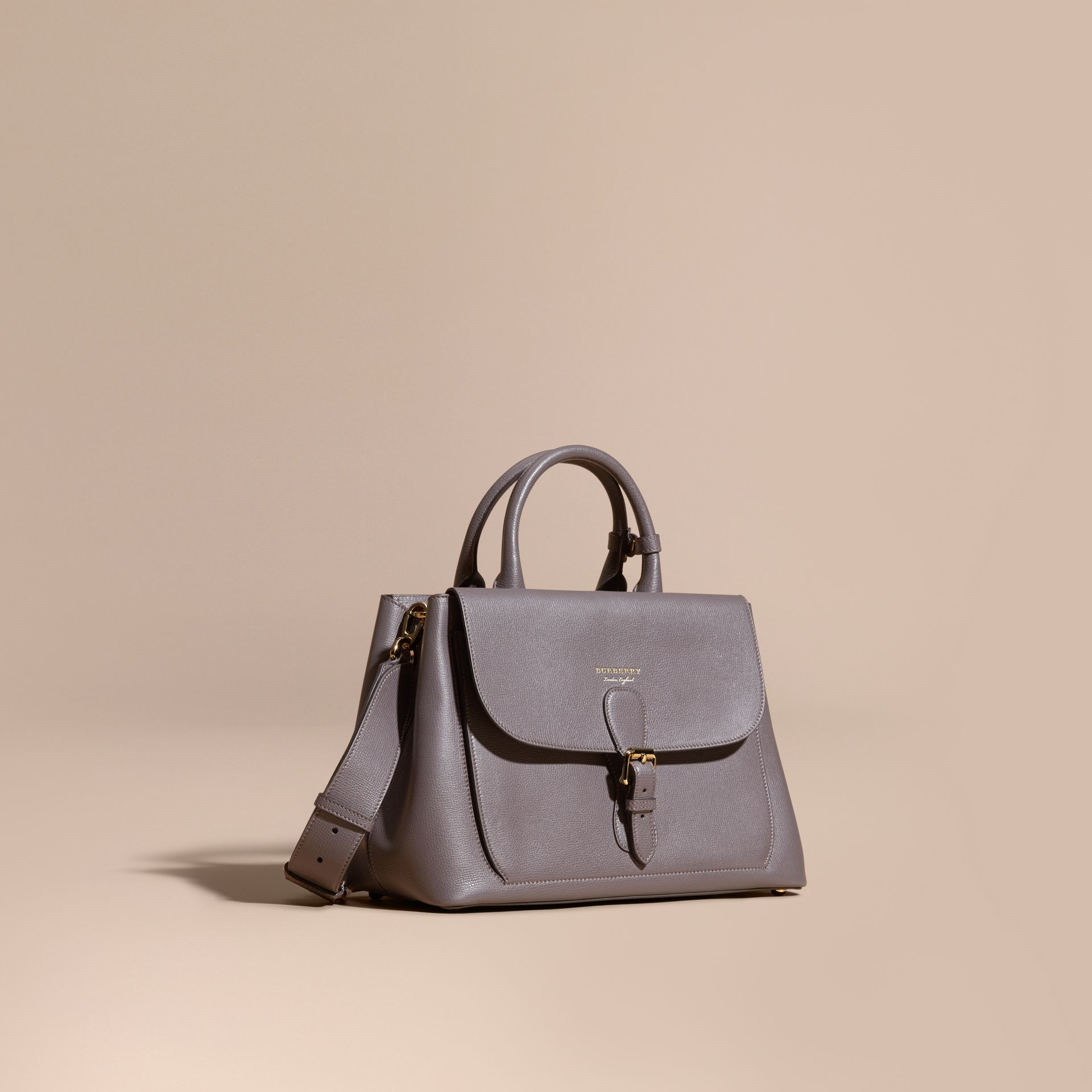 Sepia grey The Medium Saddle Bag in Grainy Bonded Leather Sepia Grey - gallery image 1