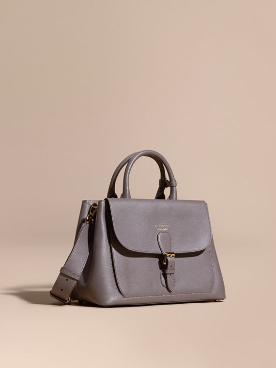 The Medium Saddle Bag in Grainy Bonded Leather Sepia Grey