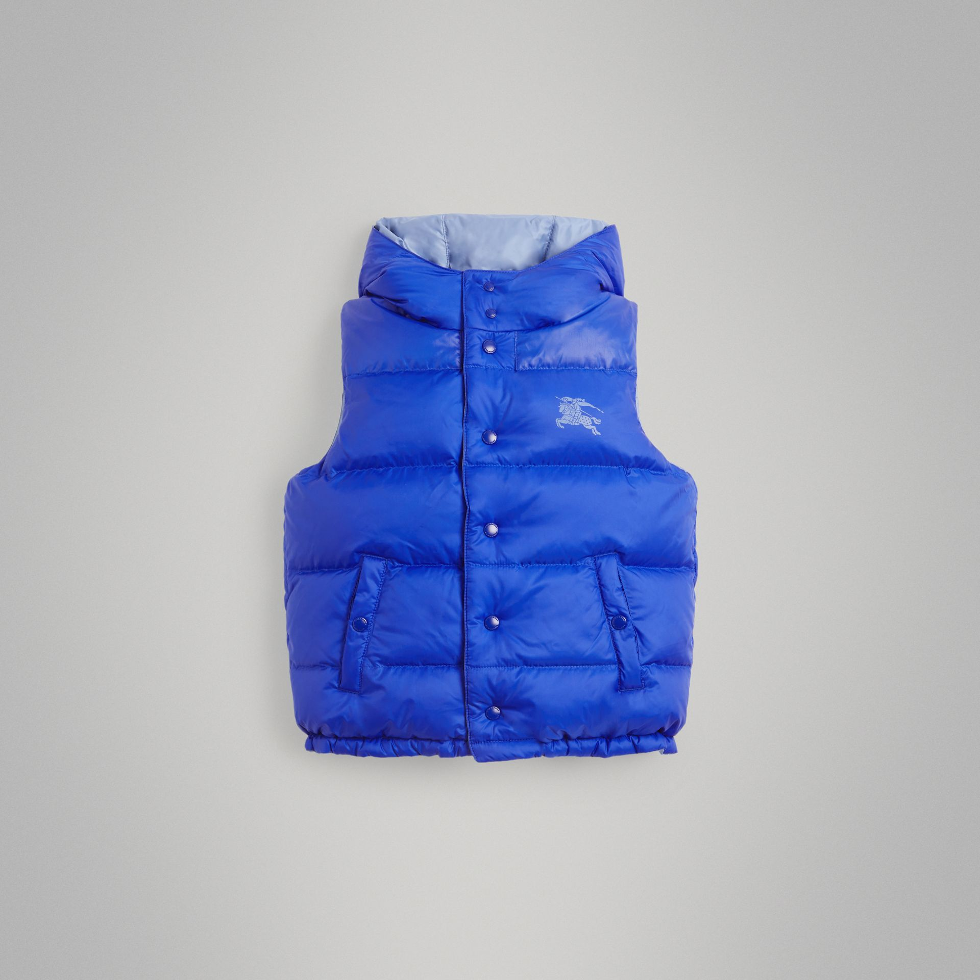 Reversible Showerproof Down-filled Hooded Gilet in Bright Spectrum Blue | Burberry - gallery image 0
