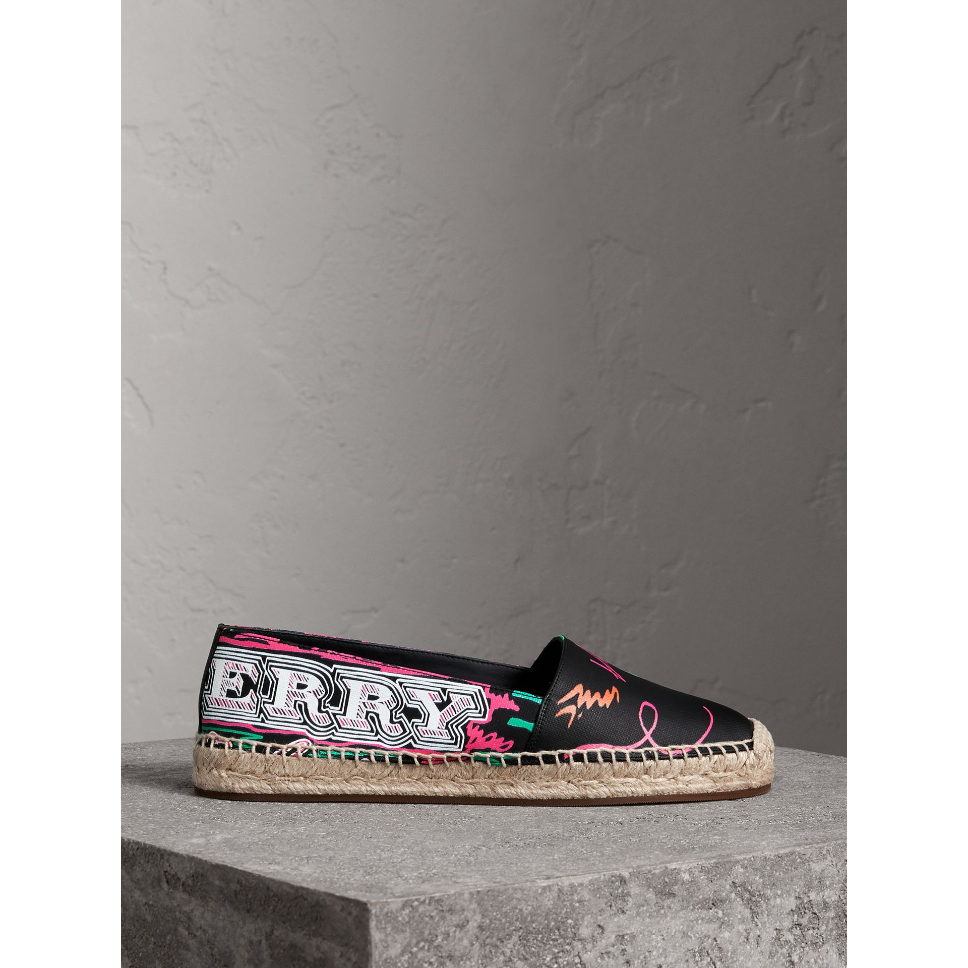 Doodle Print Coated Cotton Espadrilles in Black - Women | Burberry - gallery image 4