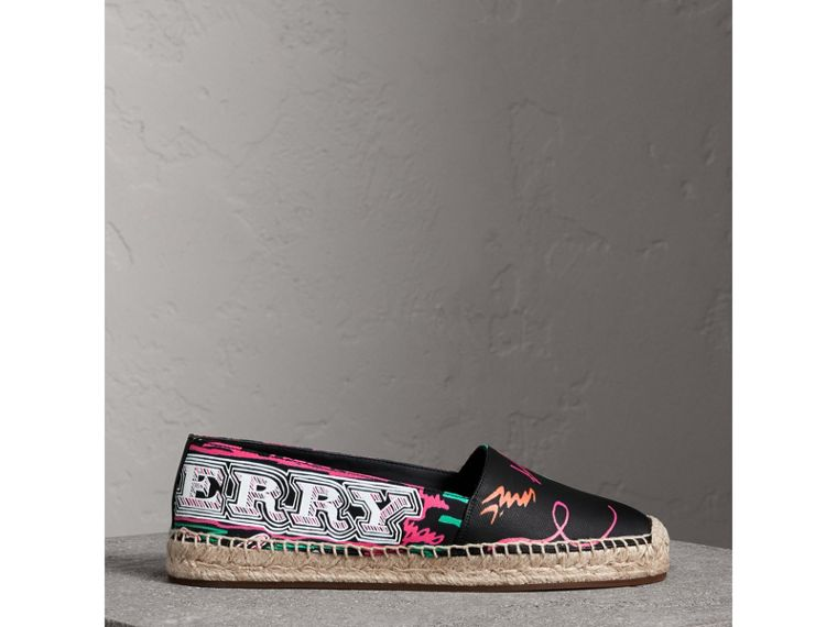 Doodle Print Coated Cotton Espadrilles in Black - Women | Burberry Australia - cell image 4